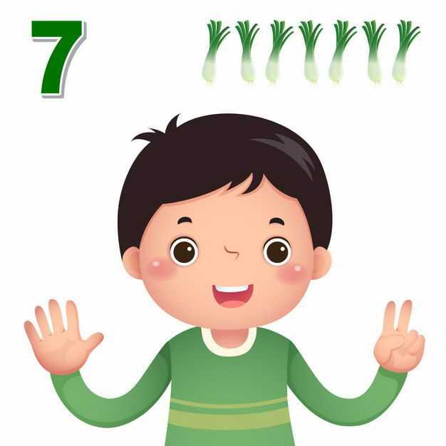 卡通小男孩数数字7幼儿园数学教学数字手势5925699矢量图片免抠素材