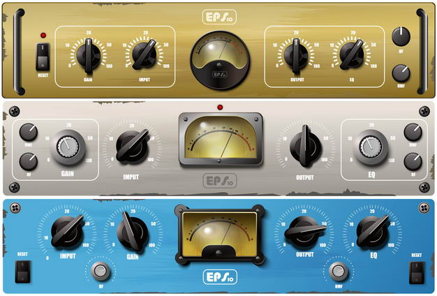 3款老式收音机电台控制面板3807068矢量图片免抠素材 IT科技-第1张