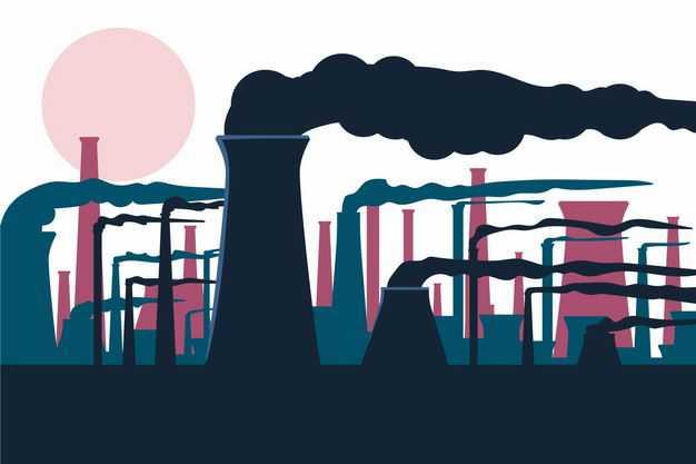 抽象插画风格工厂烟囱林立剪影9046589矢量图片免抠素材