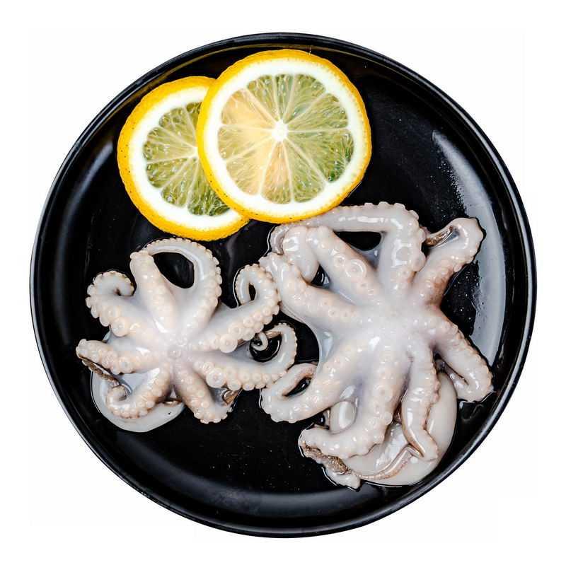 黑色盘子里的2个章鱼和柠檬6207240png图片免抠素材