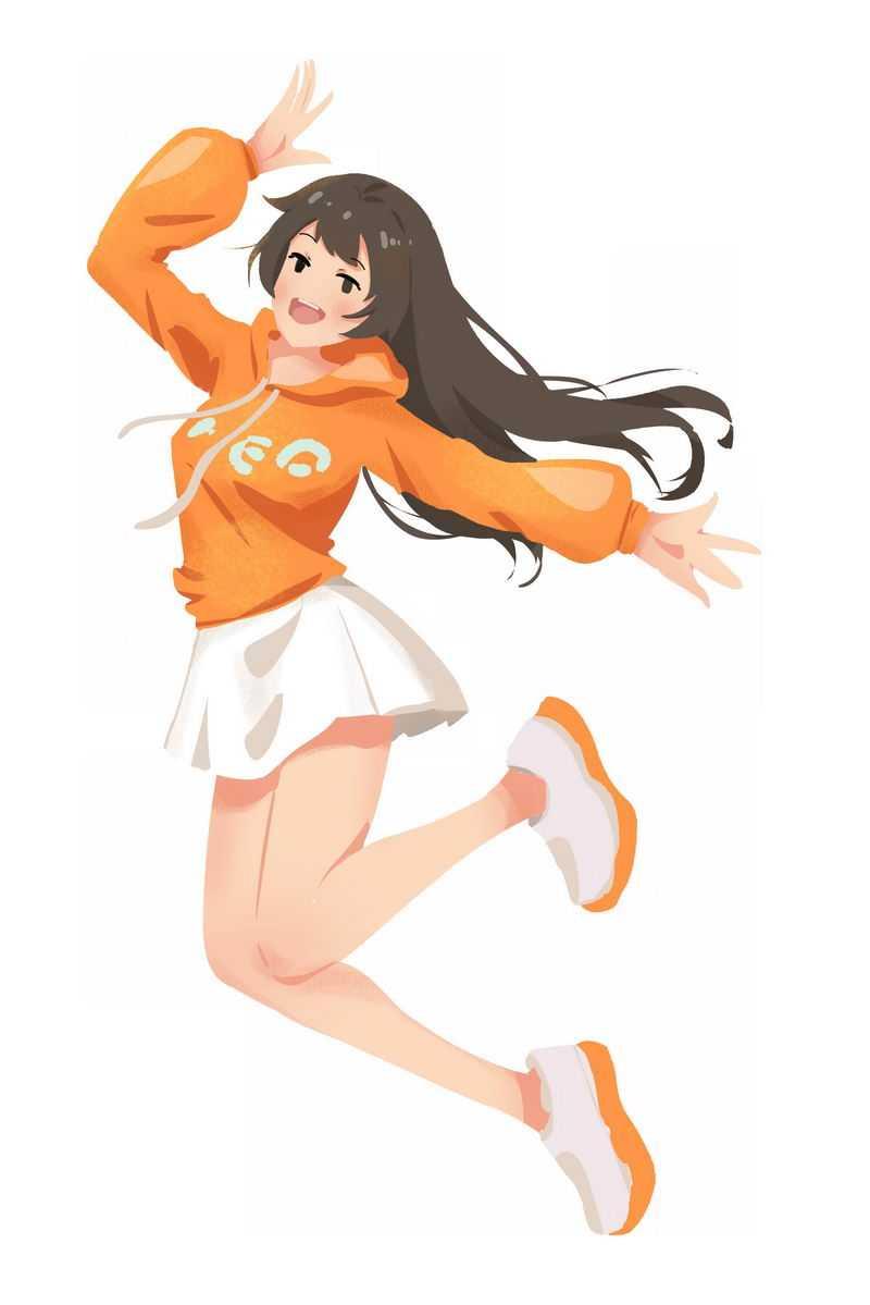 高兴得跳起来的黄衣少女大长腿小美女1543792免抠图片素材