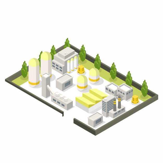 2.5D风格的工业园区工厂厂房8456194矢量图片免抠素材