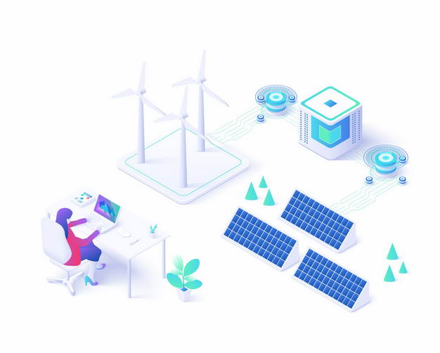 2.5D风格风力和太阳能发电人们使用清洁绿色能源9491888矢量图片免抠素材 工业农业-第1张