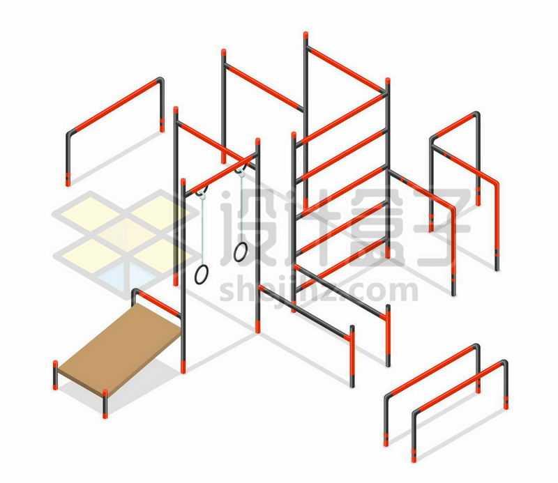 2.5D风格公园健身中心的单杠双杠吊环等健身设施4287174矢量图片免抠素材