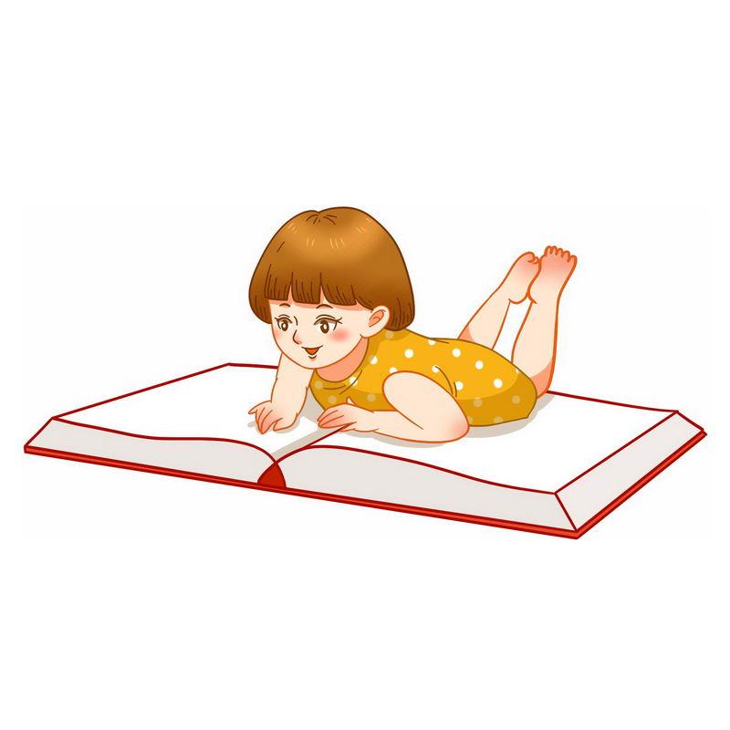 卡通女孩趴在书本上看书5579450免抠图片素材 教育文化-第1张