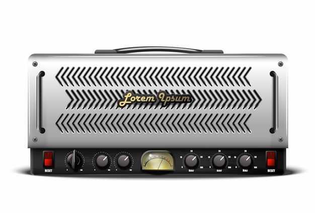 一款复古金属风格老式收音机电台控制面板正面7331773矢量图片免抠素材