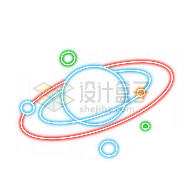 霓虹灯风格发光线条行星和轨道上的天然卫星等星球4486064免抠图片素材