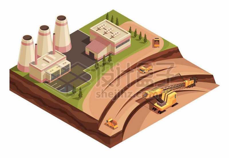 2.5D风格露天煤矿开采和火力发电厂1666281矢量图片免抠素材