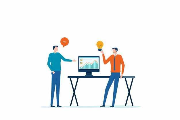 两个商务人士正在讨论问题交流自己的点子扁平插画9487315矢量图片免抠素材