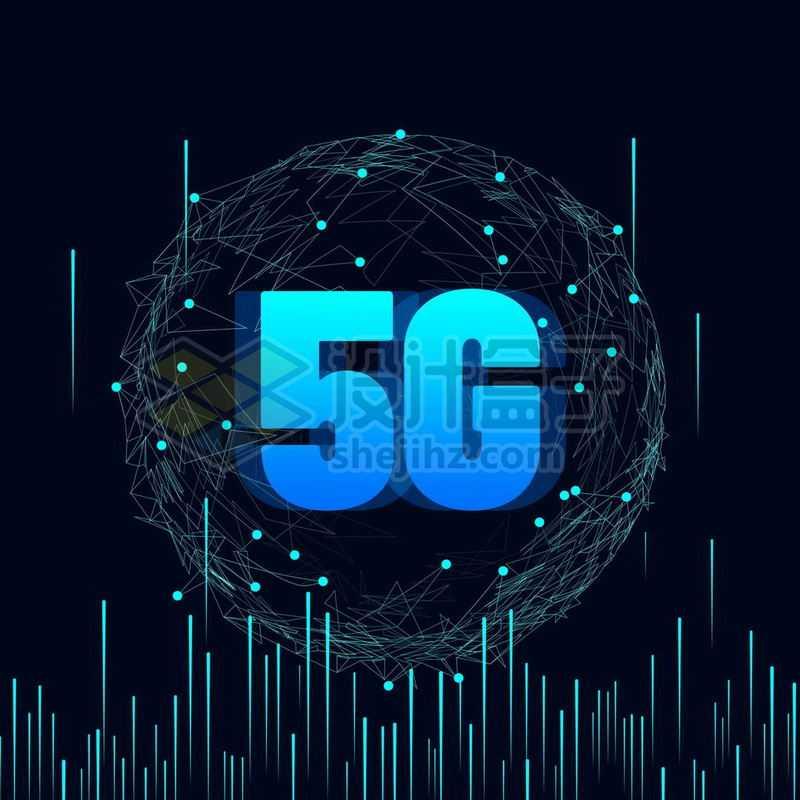蓝色发光效果的线条和多边形高科技风格5G通信技术9077614免抠图片素材