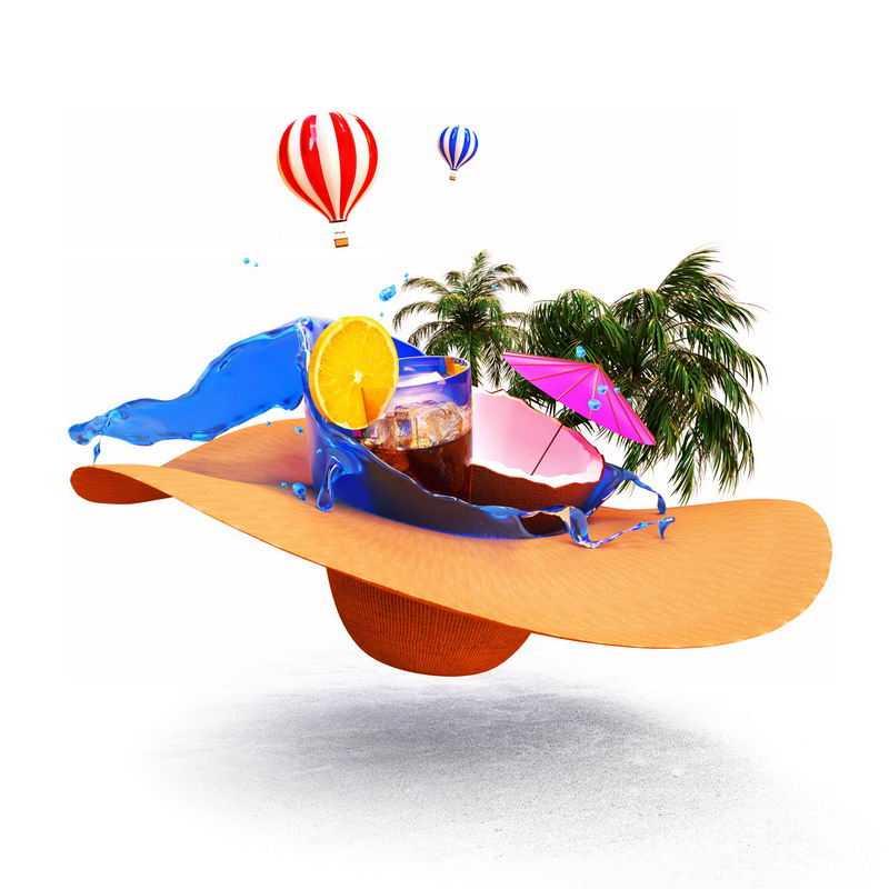 3D立体风格草帽上的沙滩冷饮椰子树等热带海岛旅游9502649图片素材