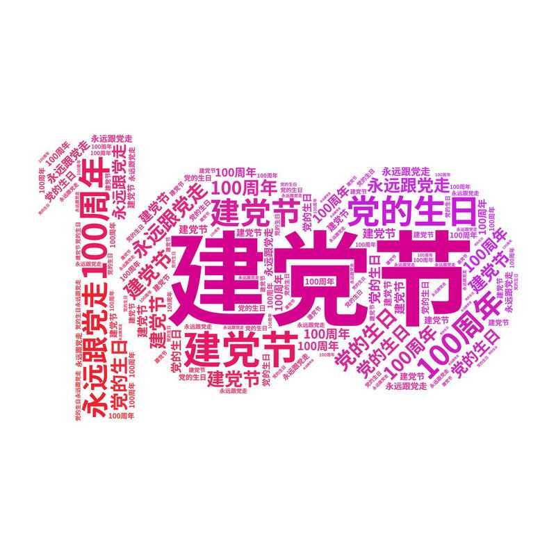 建党节建党100周年艺术字体文字聚合图案8613824png图片免抠素材