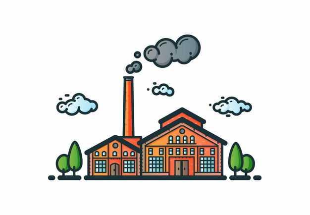 MBE风格卡通烟囱冒烟的工厂厂房4527465矢量图片免抠素材