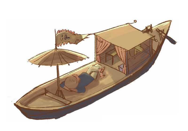 复古风格的小船和躺着休息的船夫中国传统插画4154470图片素材