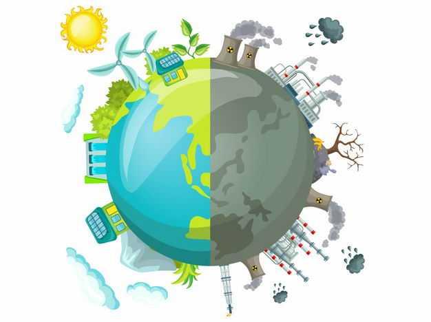 地球一半是青山绿水清洁能源另一半是各种化工厂污染环境4839178矢量图片免抠素材