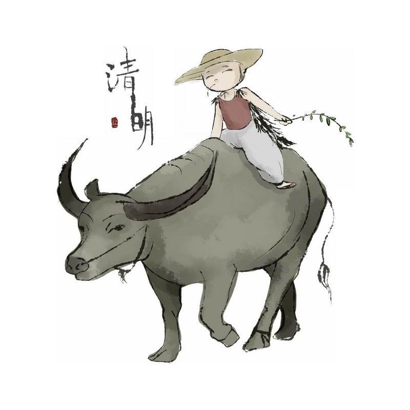 清明节卡通牧童正在骑在牛背身上放牛6184282免抠图片素材 人物素材-第1张