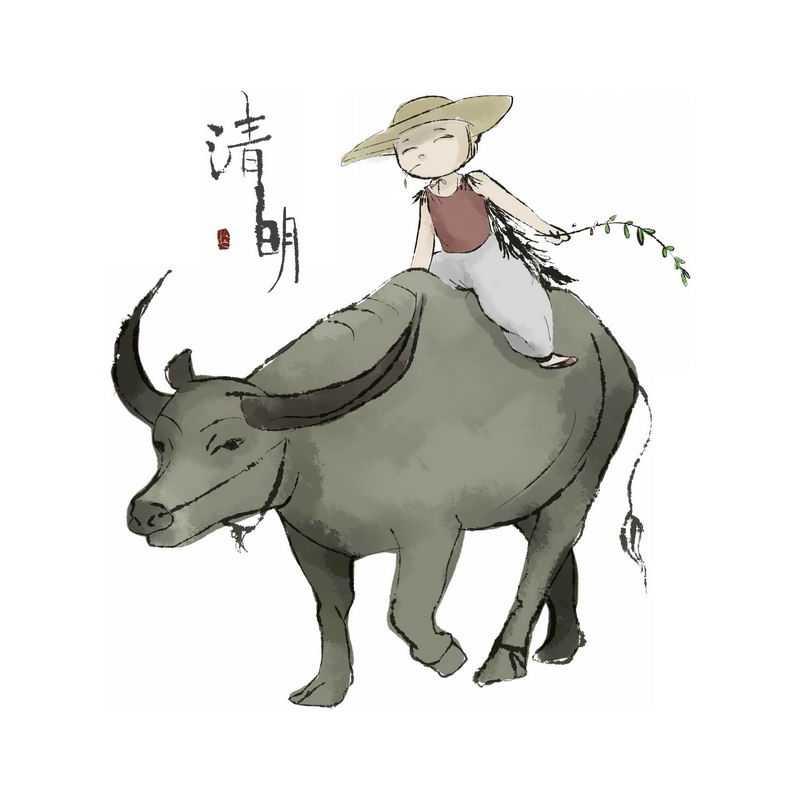 清明节卡通牧童正在骑在牛背身上放牛6184282免抠图片素材