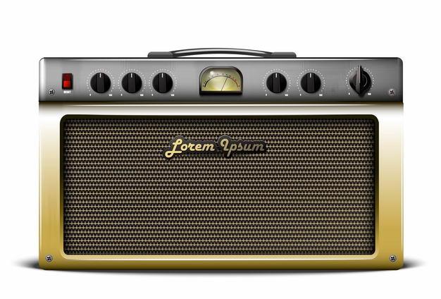 一款复古金色风格老式收音机电台控制面板正面2353587矢量图片免抠素材 IT科技-第1张