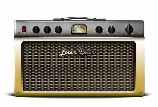 一款复古金色风格老式收音机电台控制面板正面2353587矢量图片免抠素材