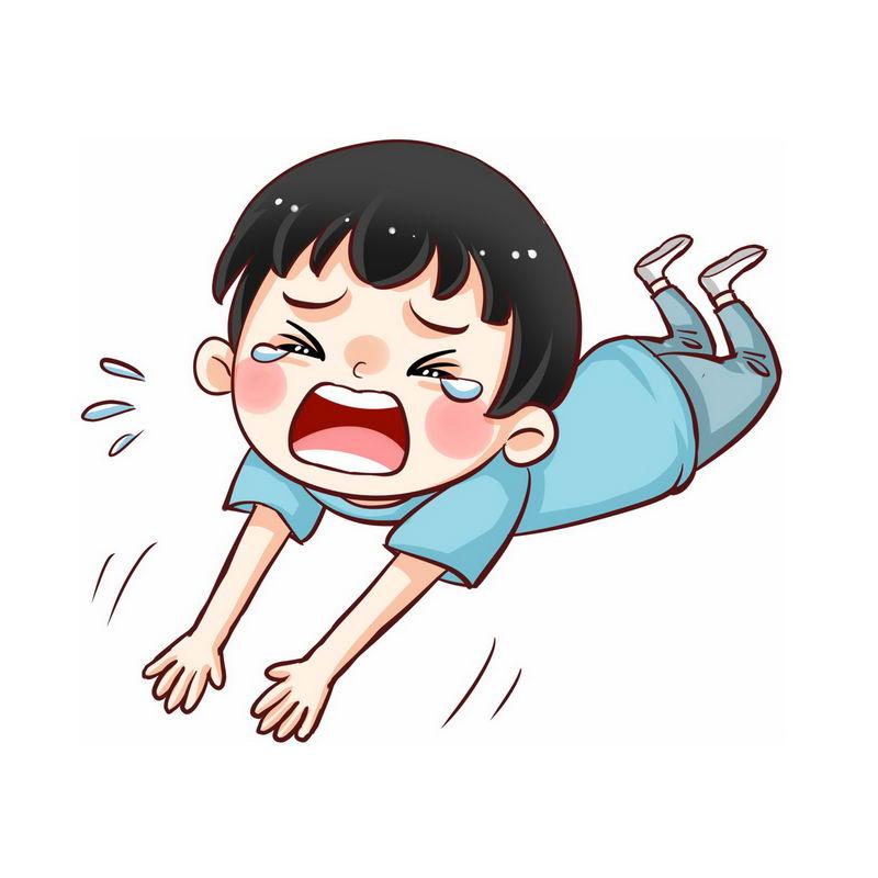 趴在地上撒泼哭闹没教养打滚的卡通小男孩7148482图片素材 人物素材-第1张
