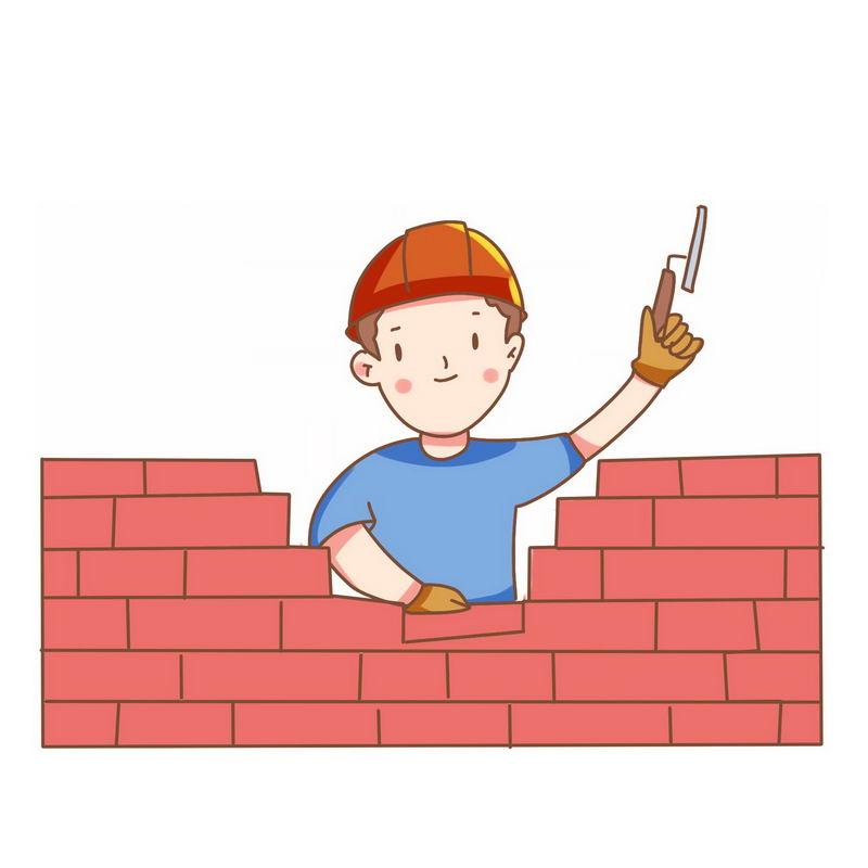 卡通建筑工人正在砌砖墙9102181免抠图片素材 工业农业-第1张