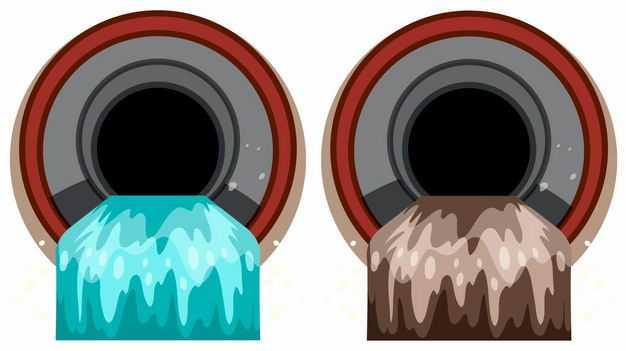 两个排污管道一个排放污水一个排放清水6174138矢量图片免抠素材