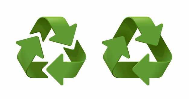 2款3D立体风格绿色循环箭头可回收垃圾标志环保标志5531104矢量图片免抠素材