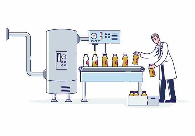 MBE风格卡通工人正在流水线上生产饮料1616101矢量图片免抠素材