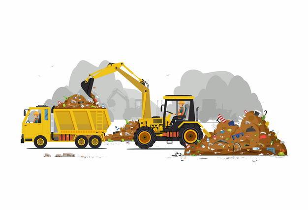 黄色挖土机正在将垃圾铲到卡车上垃圾山处理9688243矢量图片免抠素材 工业农业-第1张