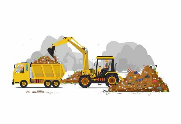 黄色挖土机正在将垃圾铲到卡车上垃圾山处理9688243矢量图片免抠素材