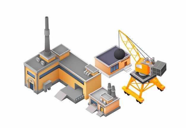 2.5D风格工厂厂房和大型吊车4750843矢量图片免抠素材