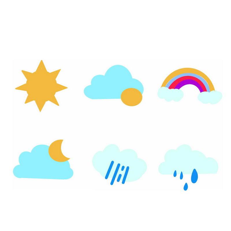 扁平化风格卡通天气预报图标6406560图片素材 图标-第1张