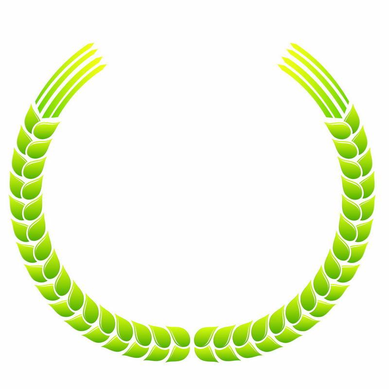 绿色麦穗徽章标志logo边框装饰5838357AI矢量图片免抠素材 标志LOGO-第1张