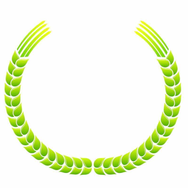 绿色麦穗徽章标志logo边框装饰5838357AI矢量图片免抠素材