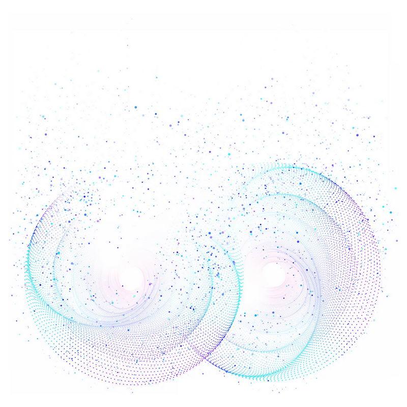 蓝色紫色螺旋光点发光效果抽象图案5672615免抠图片素材 效果元素-第1张