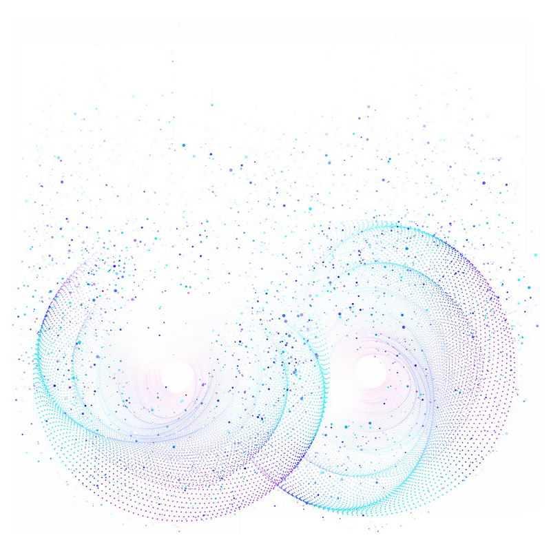 蓝色紫色螺旋光点发光效果抽象图案5672615免抠图片素材