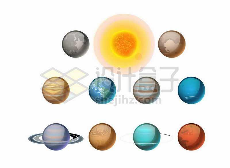 水晶按钮风格的太阳系八大行星6206012矢量图片免抠素材