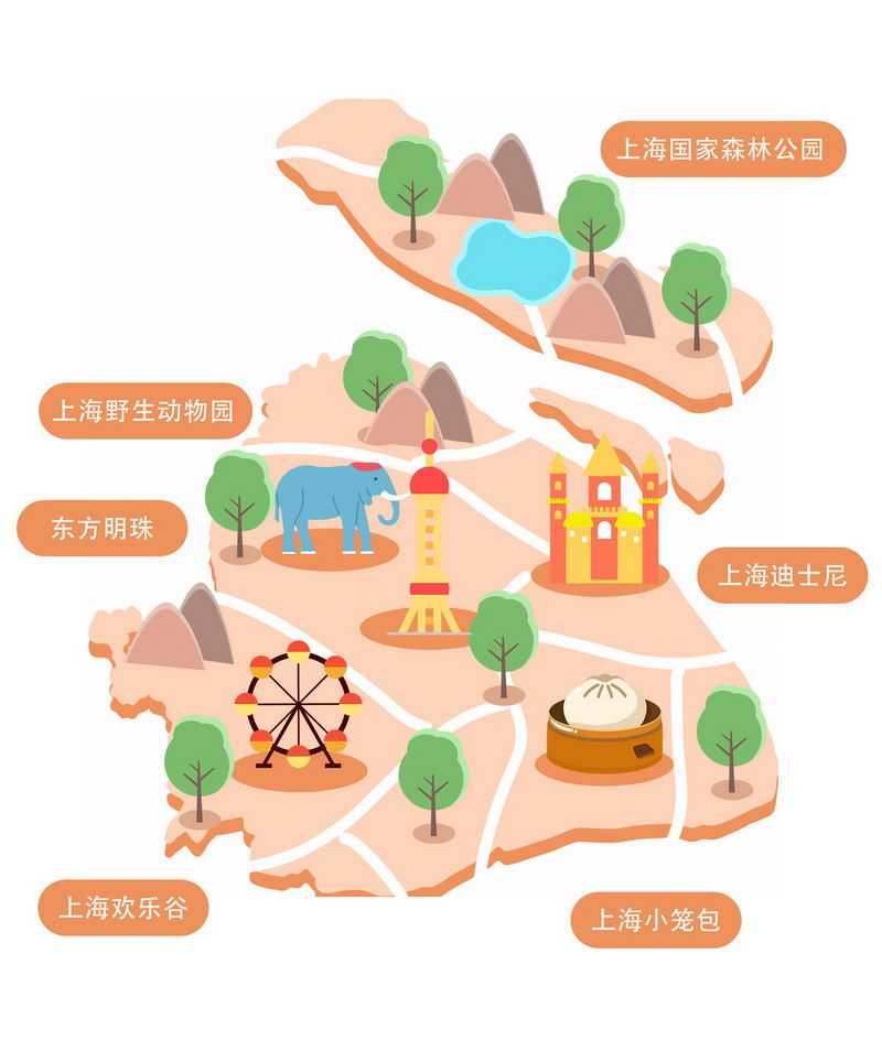 卡通风格上海旅游地图上海知名景点7948225图片素材