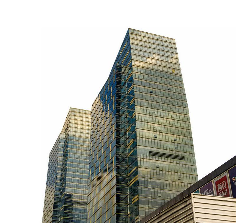 仰视视角的玻璃幕墙高楼大厦6664766png图片免抠素材 建筑装修-第1张