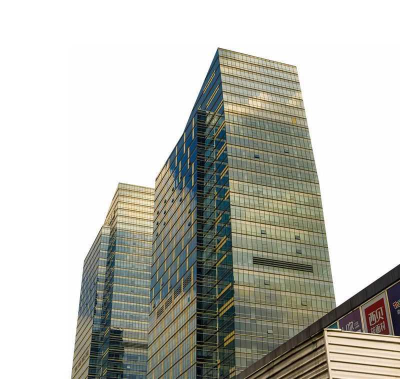 仰视视角的玻璃幕墙高楼大厦6664766png图片免抠素材