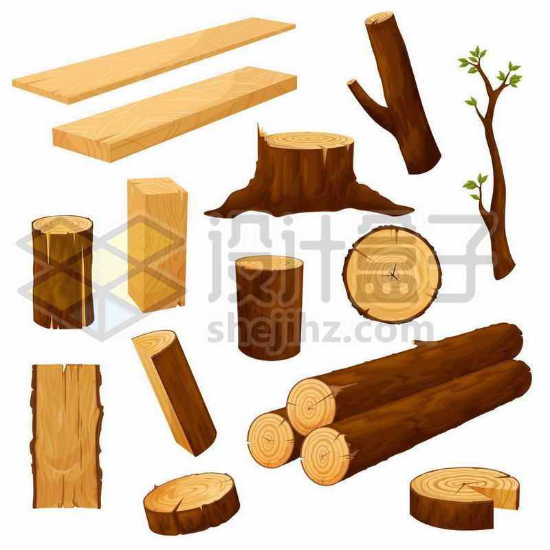 木板木桩木材劈柴等木头3964754矢量图片免抠素材