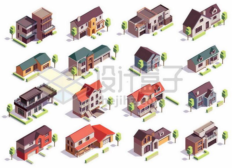 16款2.5D风格小别墅小房子6128333矢量图片免抠素材 建筑装修-第1张