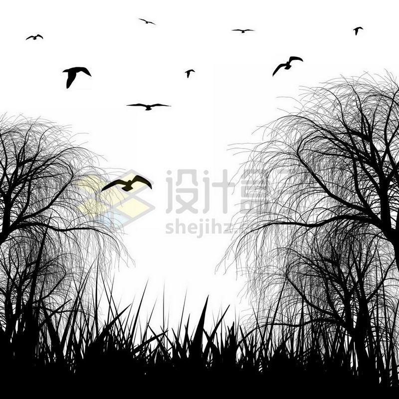 草丛柳树和飞鸟剪影3438289免抠图片素材 生物自然-第1张