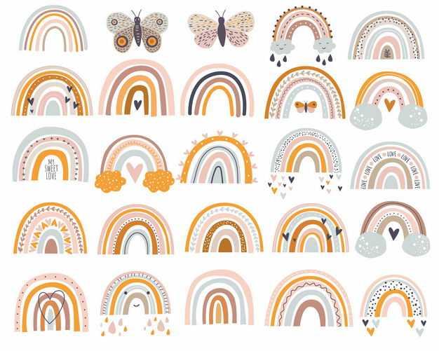各种彩色彩虹和蝴蝶图案手绘插画4759534矢量图片免抠素材