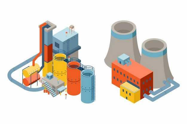 2.5D风格水泥厂化工厂发电厂冷却塔7137560矢量图片免抠素材