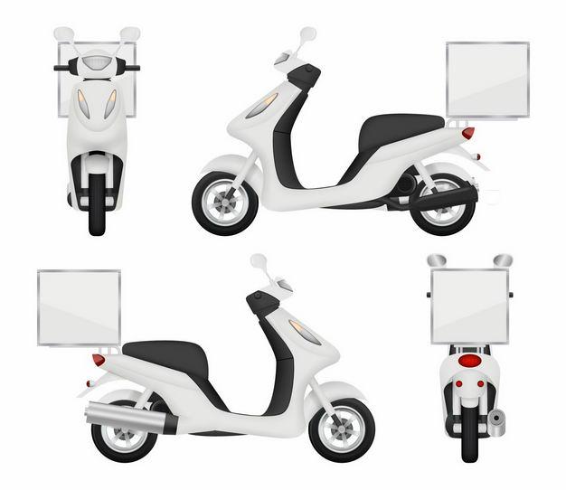 4个不同角度的白色外卖车送餐车摩托车电动车8651378矢量图片免抠素材 交通运输-第1张