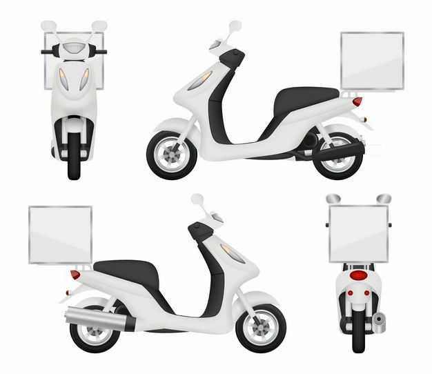 4个不同角度的白色外卖车送餐车摩托车电动车8651378矢量图片免抠素材
