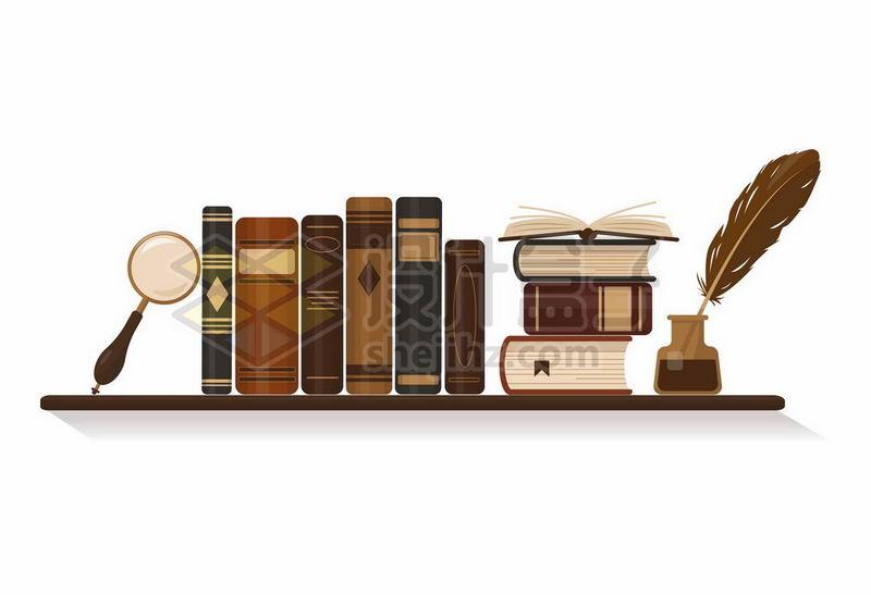 书架上的书籍鹅毛笔放大镜8709380矢量图片免抠素材 教育文化-第1张