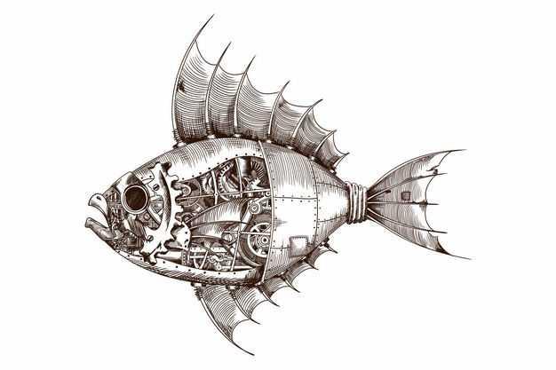 蒸汽朋克风格机械鱼机器鱼手绘插画6342795矢量图片免抠素材