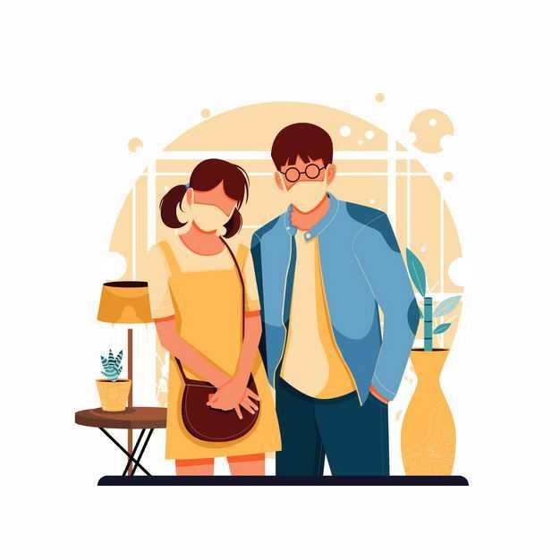 戴着口罩的情侣正在照镜子手绘插画9729088矢量图片免抠素材